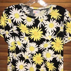 LuLaRoe S Daisy Flower Print Olive Top